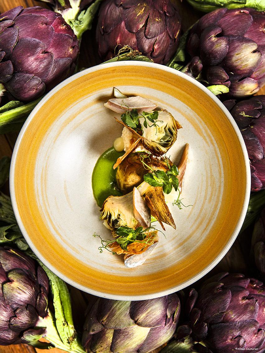 Artichauts poivrades, harengs fumes, oseille et ricotta, Chef Simon Horwitz ©Alban Couturier