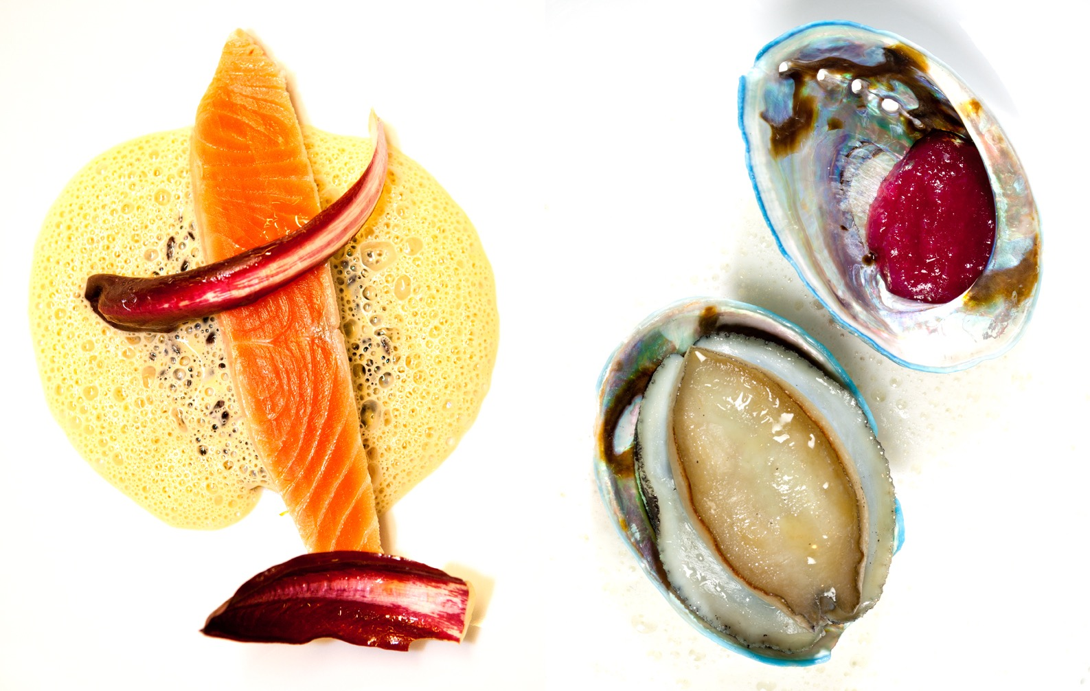 creation culinaire, jacky Ribault, chef proprietaire , restaurant Qui plume la lune, 1 etoile au guide Michelin,saumon chicoree & ormeau et sa compotee d'oignon rouge, ©Alban Couturier