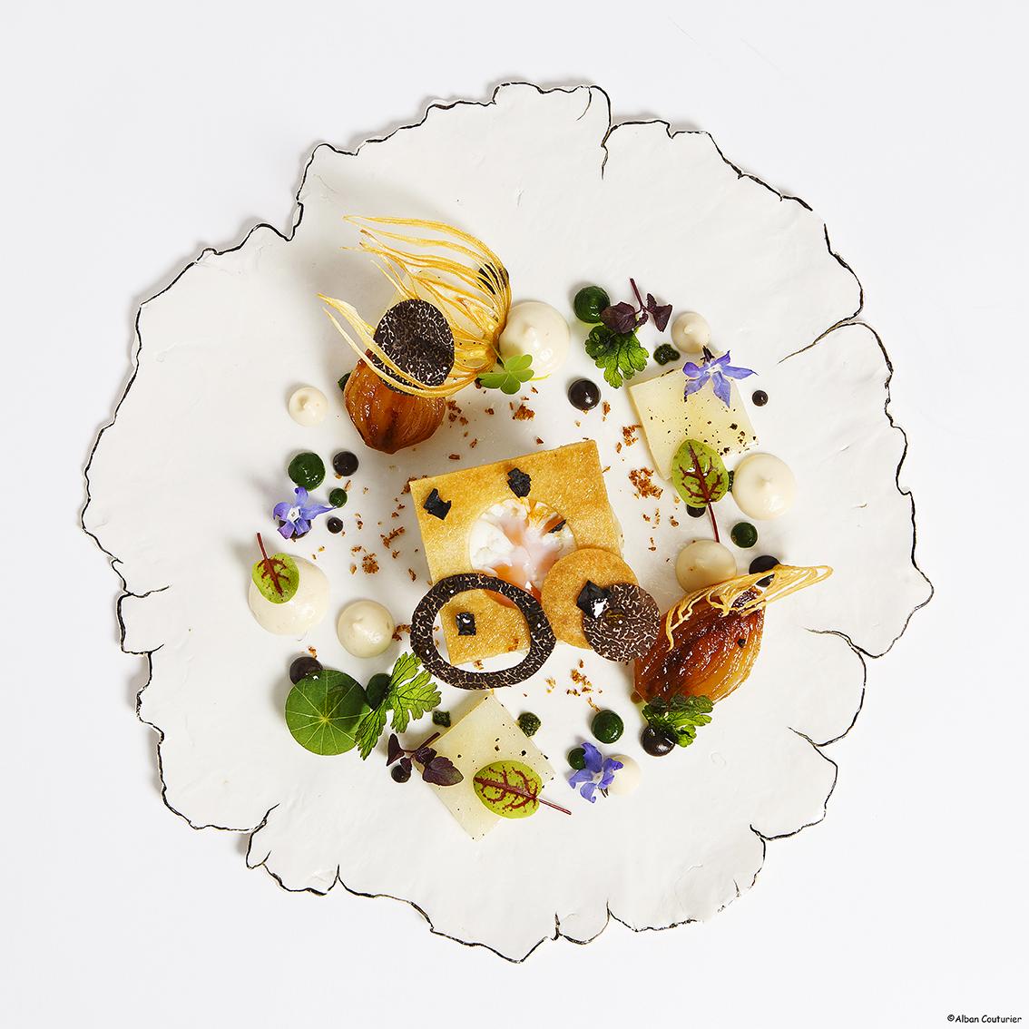 Creation culinaire et graphique Syvestre Wahid, restaurant Sylvestre, Hotel Thoumieux, 2 etoiles au guide Michelin, Paris ©Alban Couturier