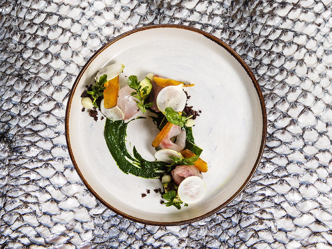 Dorade crue, ortie, concombre et poutargue. Chef Simon Horwitz, restaurant ELMER, ©Alban Couturier