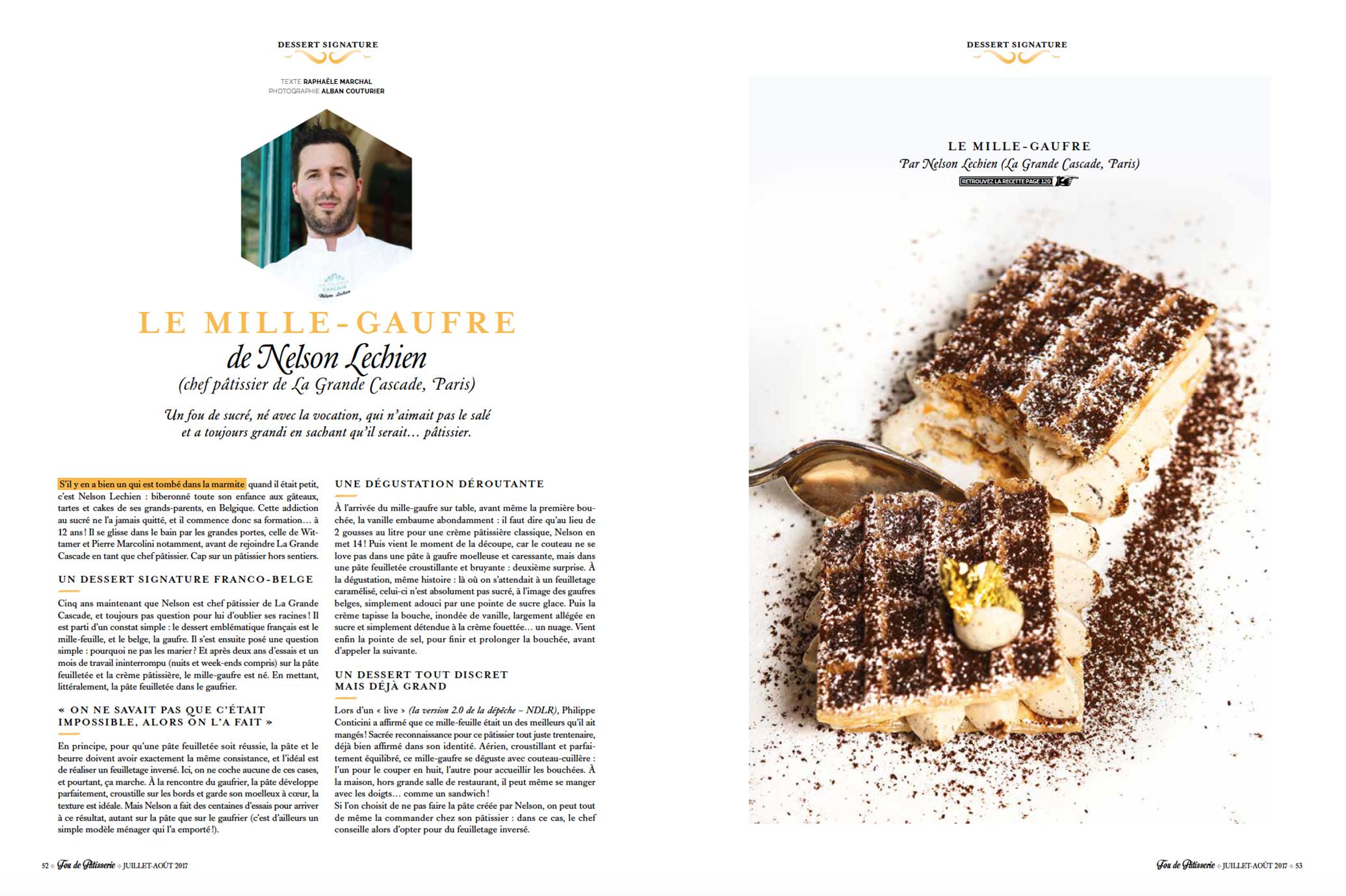 Fou de patisserie, Nelson LECHIEN, Mille gauffre, La Grande Cascade, dessert, ©Alban Couturier