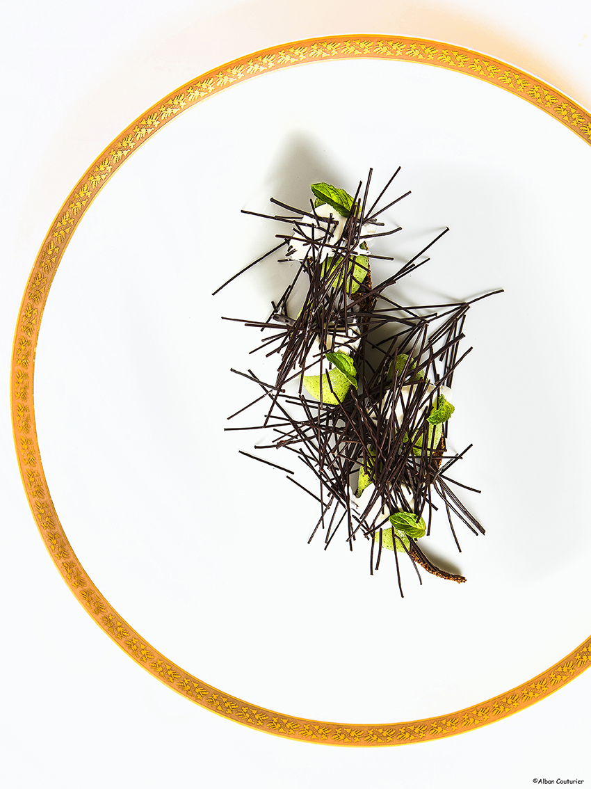 Menthe, creme, chocolat , creation sucree, chef Patissier, Francois Perret, Ritz Paris, ©Alban Couturier