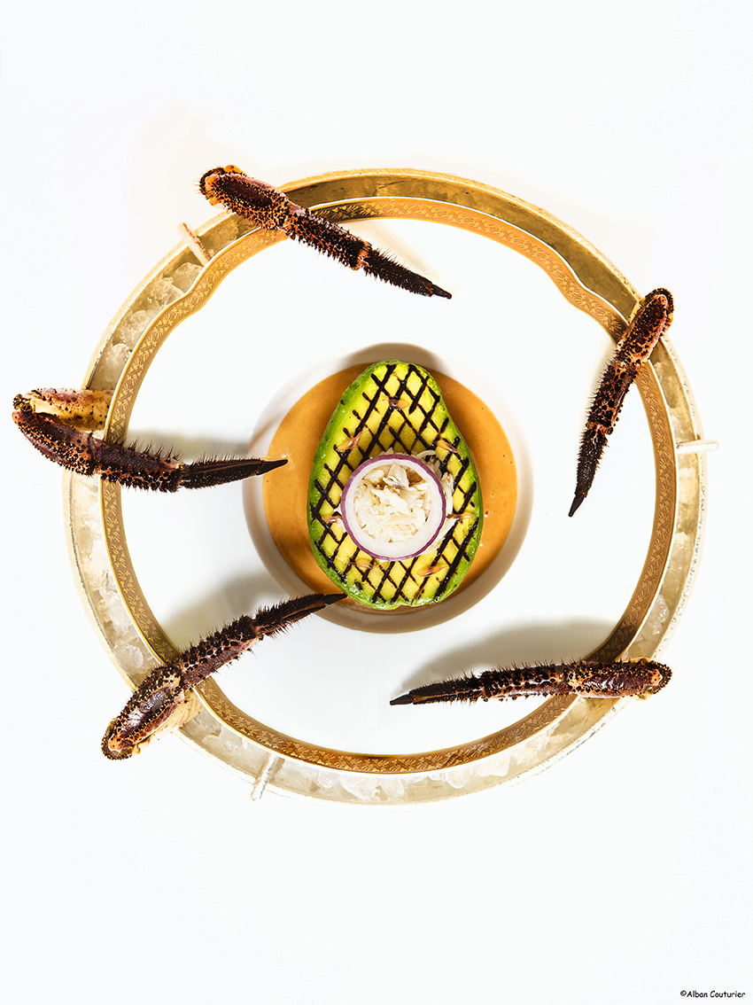 Tourteau Avocat , creation par le chef executif, Nicolas Sale, Ritz Paris, ©Alban Couturier