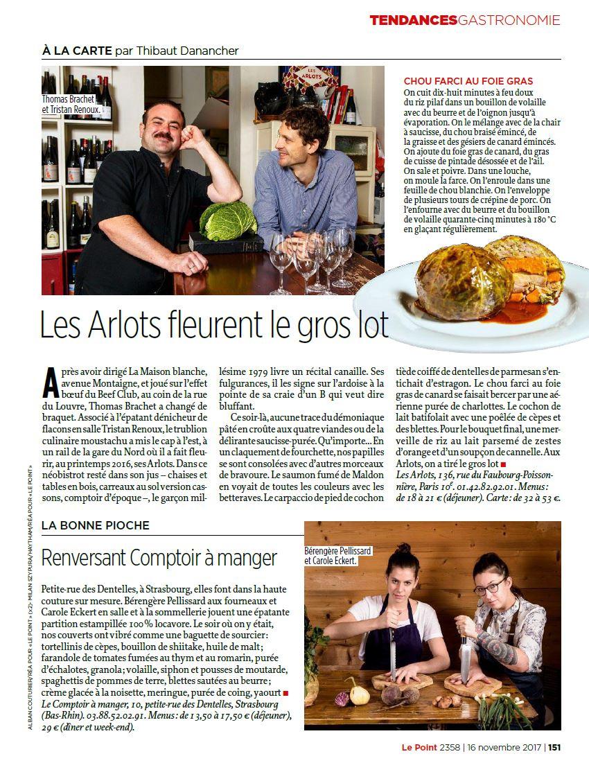 Parution dans le magazine Le Point, Portrait et recette, restaurant Les arlots, Thomas Brachet et Tristan Renou. ©Alban Couturier