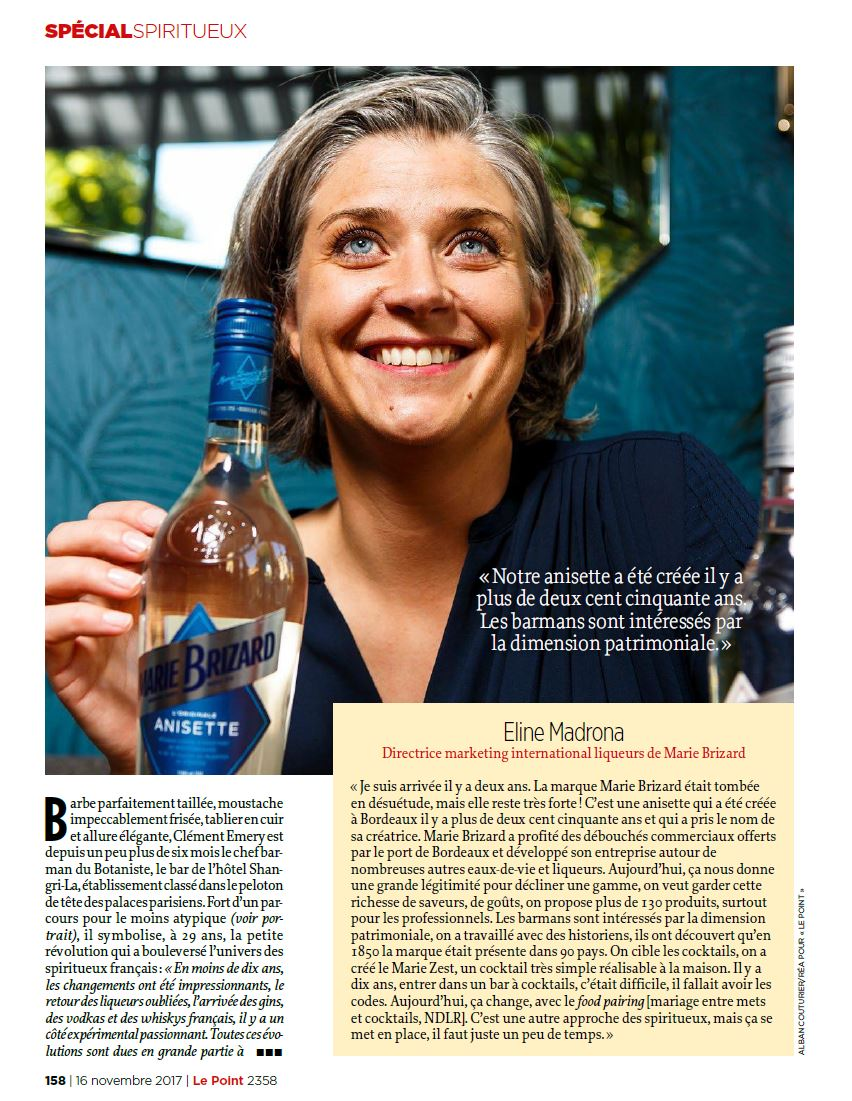 Eline Madrona, Directrice Marketing Liqueurs Marie Brizard, Portrait pour le Magazine Le Point; ©Alban Couturier
