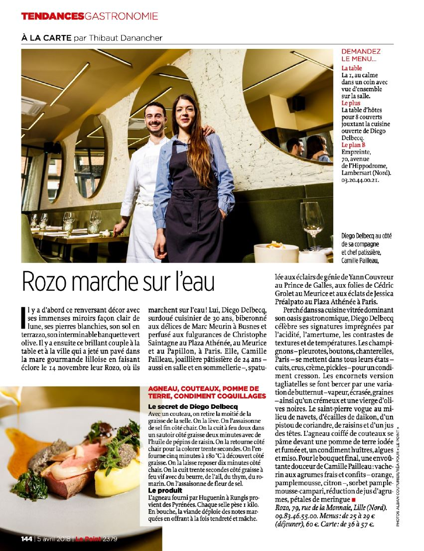 Magazine Le Point . Pleine Page, edition nationale ! Restaurant Le Rozo à Lille. 5 avril 2018 ©Alban Couturier