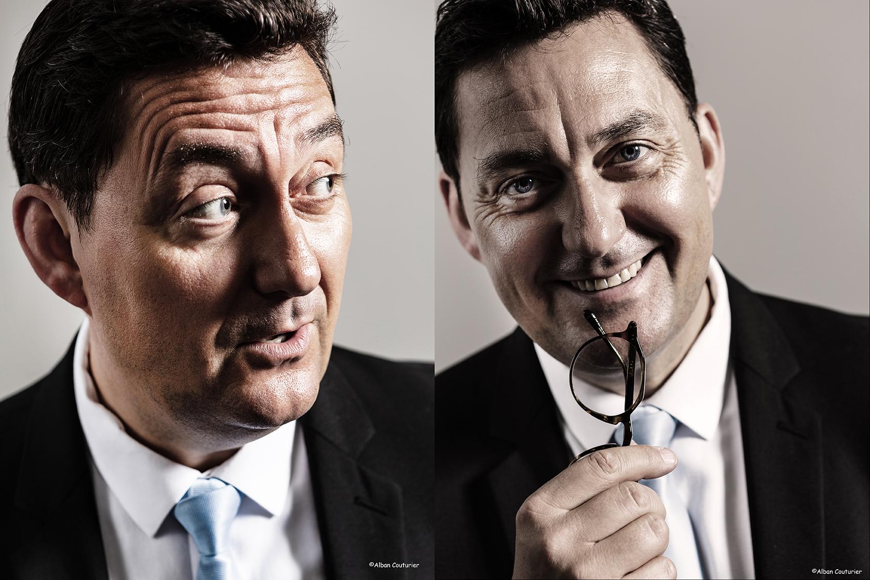 Portrait de Frederic Pedrono, directeur de salle du restaurant La Scene Theleme, chef Julien roucheteau, 1 etoile au Guide Michelin, Paris. ©Alban Couturier