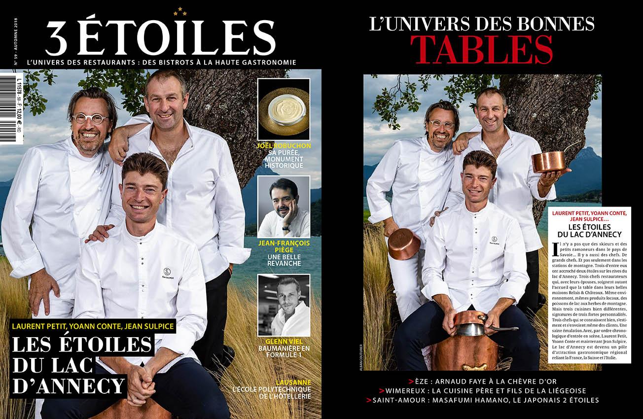 Magazine 3 etoiles, Triple portrait, Laurent Petit, Yoann Conte, Jean Sulpice, Les etoiles du bord du Lac d'Annecy,, ©Alban Couturier