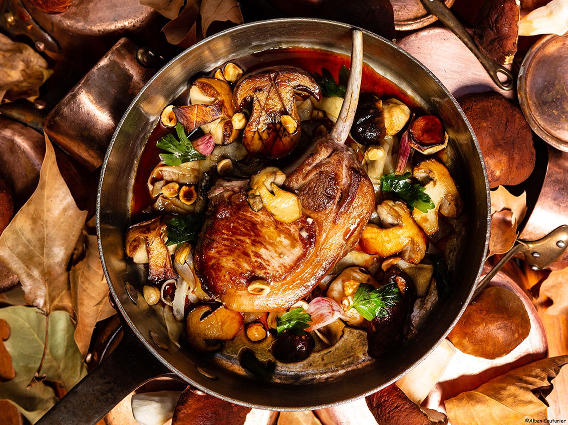 image culinaire, La cote de veau, chef sebastien giroud, Hotel du Lancaster, Paris ©Alban Couturier