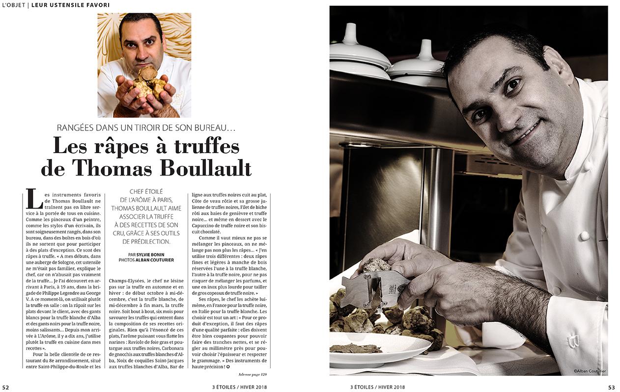 Double portrait du chef Thomas Boullault, Magazine 3 Etoiles, hiver 2018 ©Alban Couturier