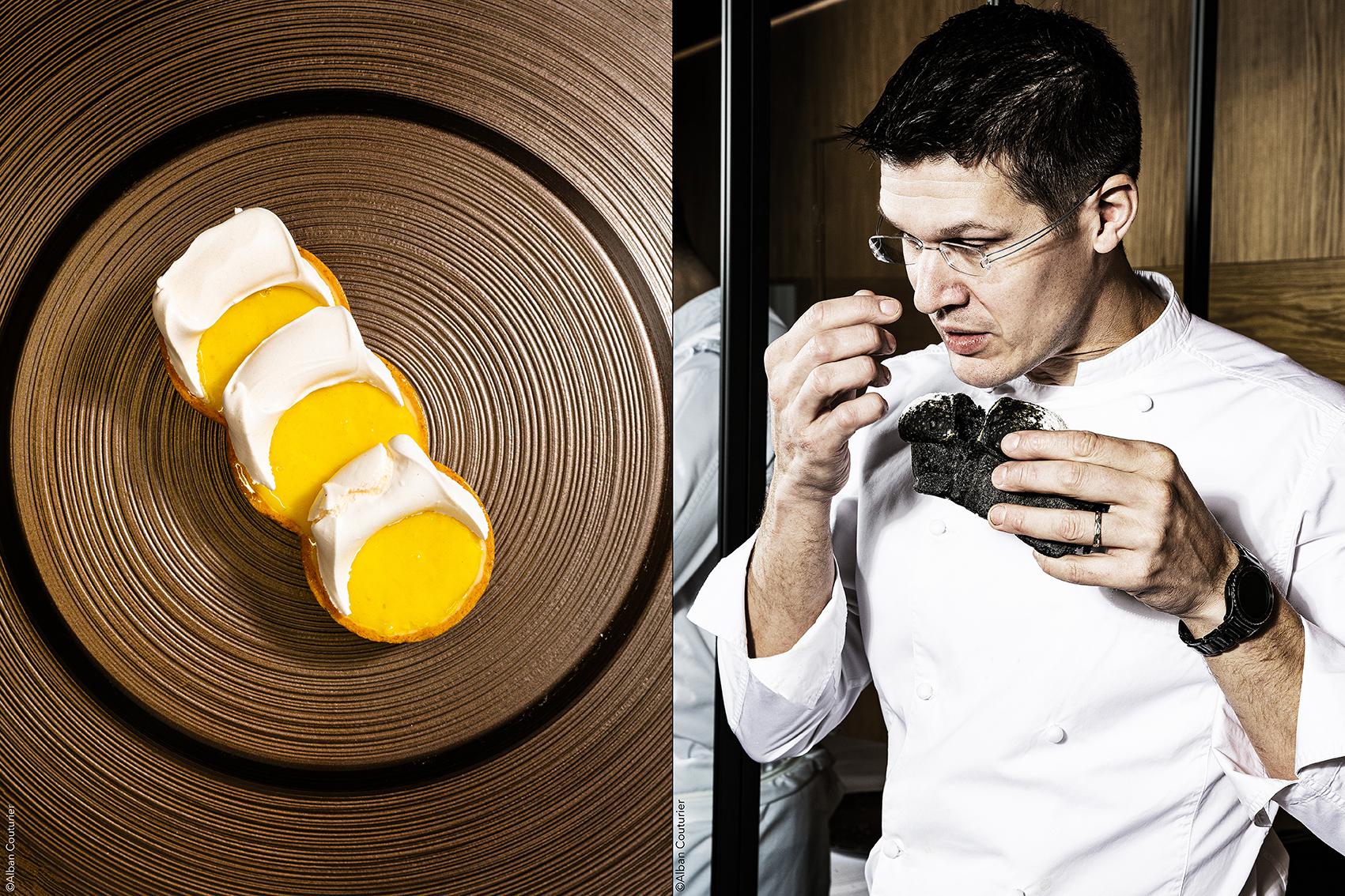 Portrait et Recette, Tartelette Citron et meringue, Chef Proprietaire Cyril Choisne, restaurant Eclipses, 27 rue de beaune Paris 7, ©Alban Couturier