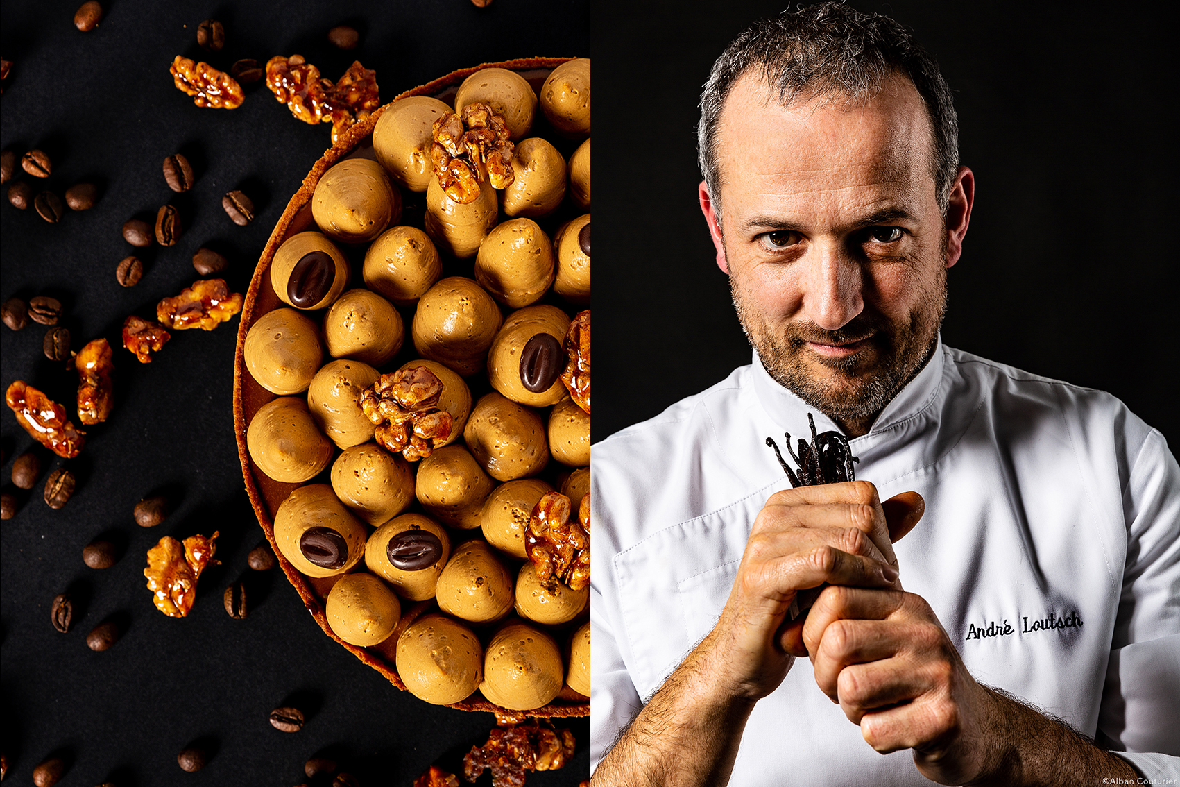 Tarte cafe et noix caramelise, chef patissier Andre Loutsch, ©Alban Couturier