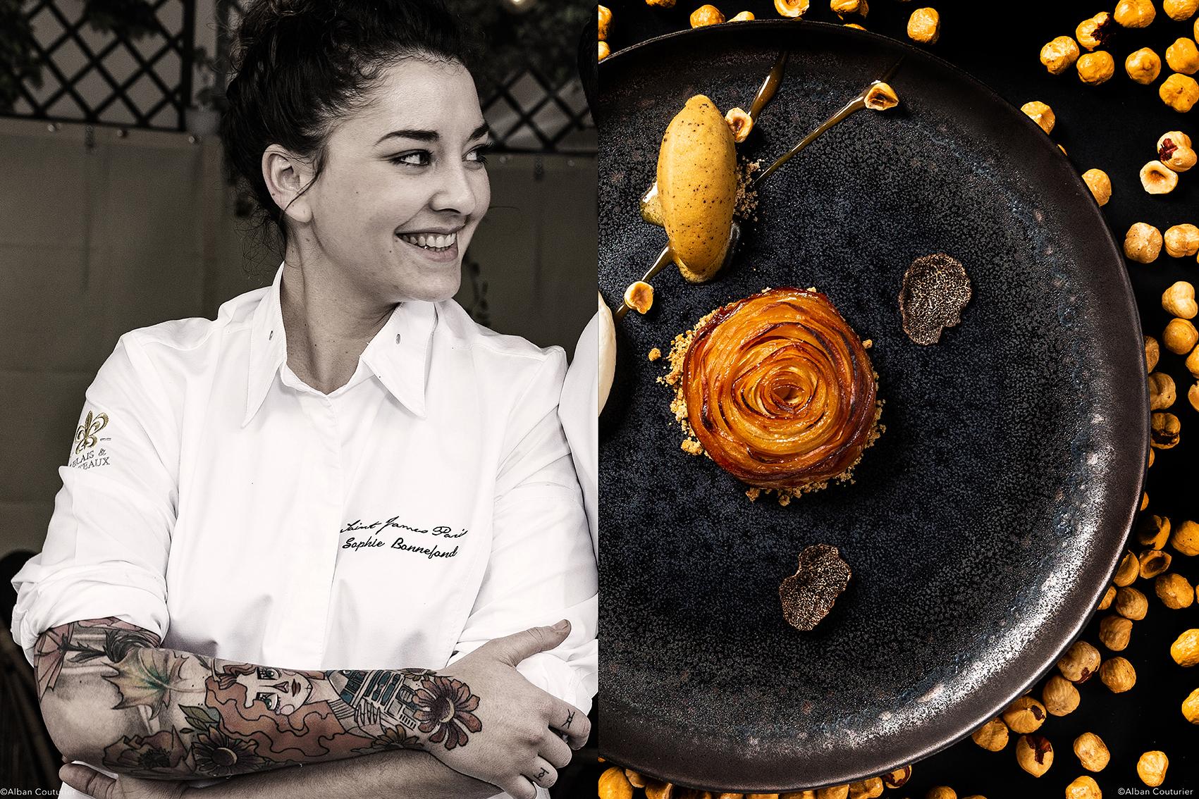 Portrait et recette, Sophie Bonnefond, chef Patissiere Saint James Paris, Tatin et glace a la truffe, ©Alban Couturier