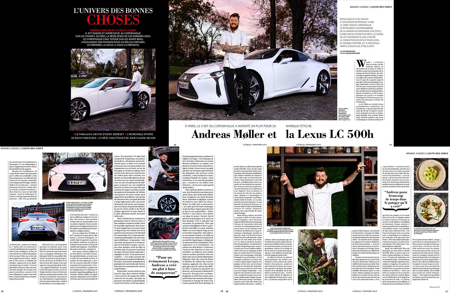 Magazine 3 etoiles, Mars 2019 Chef Andreas Moller, restaurant Copenhague, 1 etoile au guide Michelin ©Alban Couturier