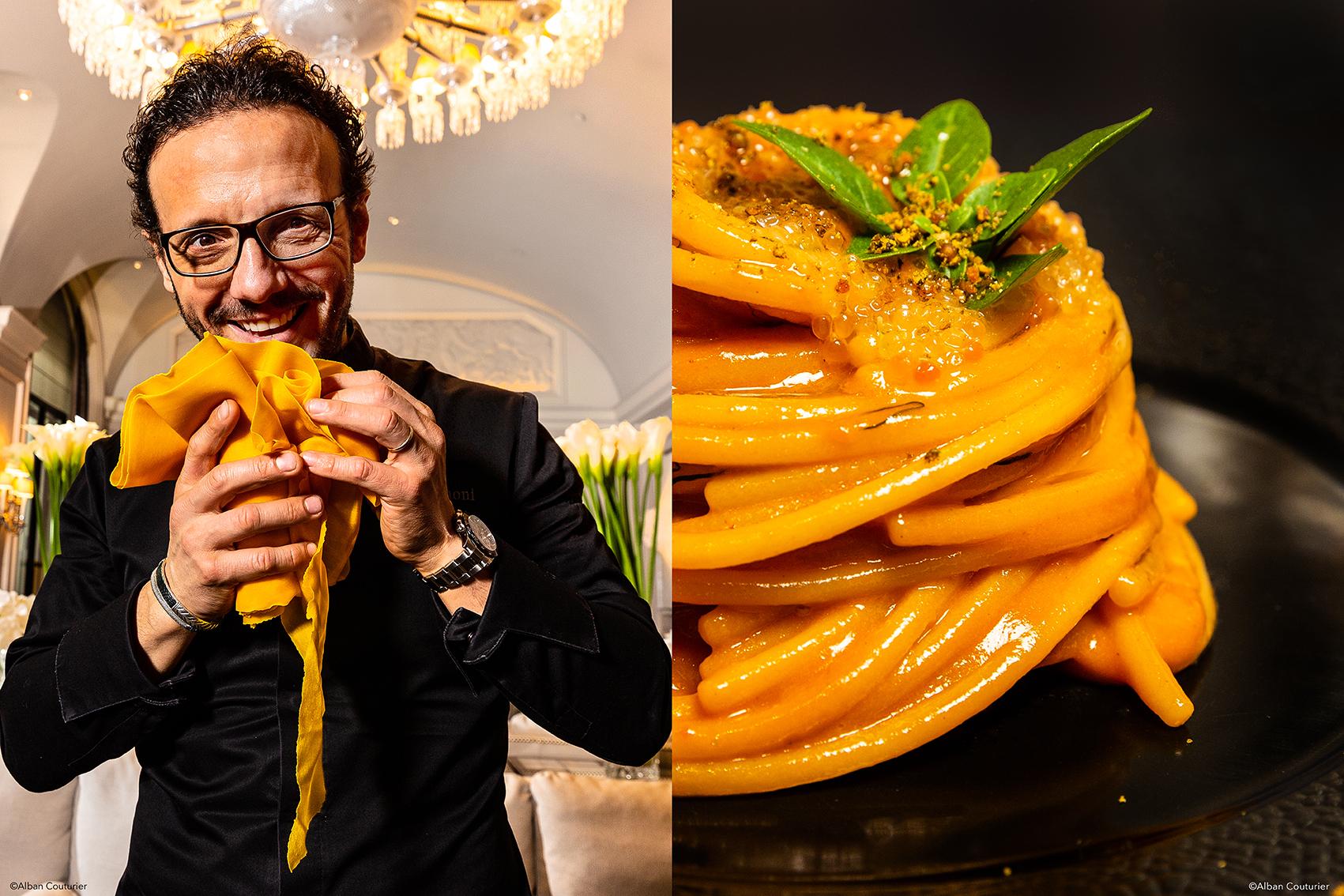 Dyptique portrait & recette, Simone zanoni, chef executif, restaurant le George, Hotel George V, 1 etoile au guide Michelin, Paris ©Alban Couturier