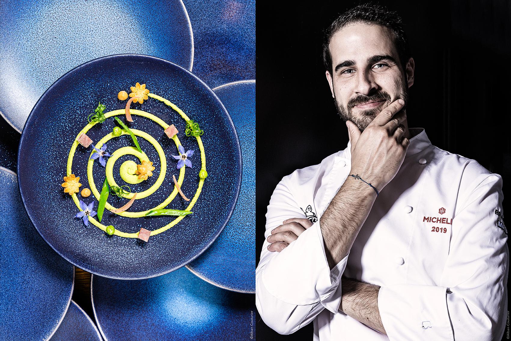 Portrait et recette, chef  Patissier et ami  Remi Berment, 1 etoile au guide Michelin, restaurant l Evidence, Montbazon ©Alban Couturier