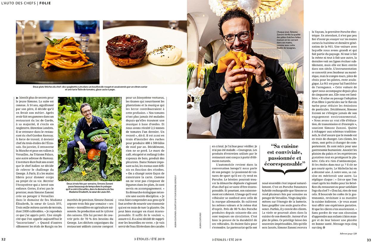 Magazine 3 Etoiles, Ete 2019 Simone Zanoni, Porsche, Chef 1 etoile, Hotel Georges V Paris ©Alban Couturier