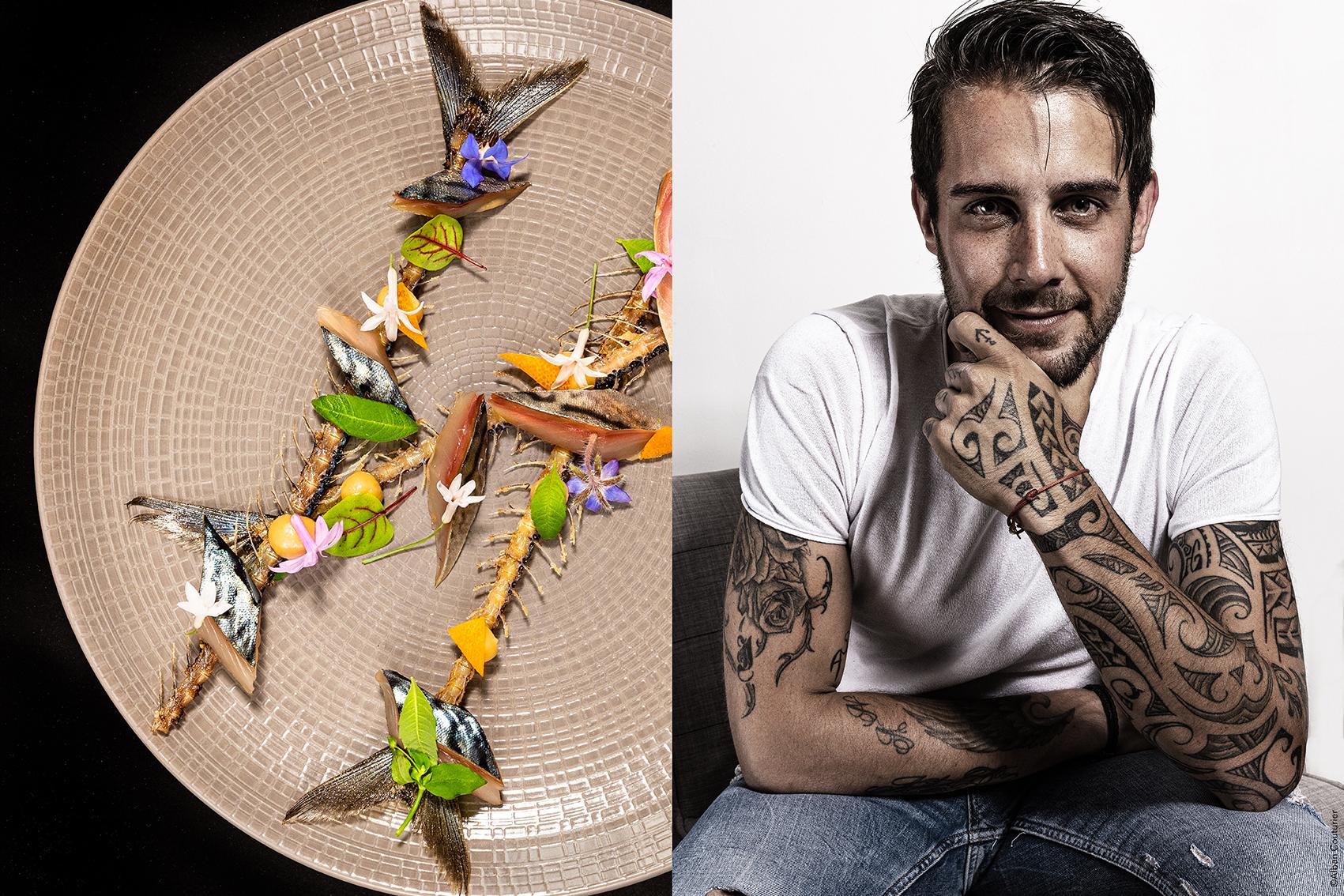 Creation culinaire du chef Alexis Le Tadic, gravlax de Maquereau sur arete & portrait ©Alban Couturier