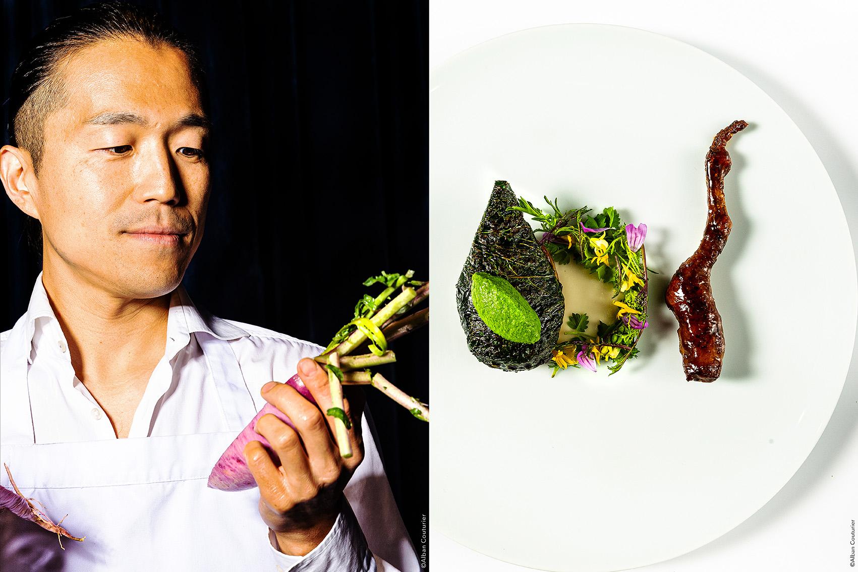 Portrait et recette, chef Yoshitaka Takayanagi, la Scene Theleme, Paris , 1 etoile au guide Michelin ©Alban Couturier