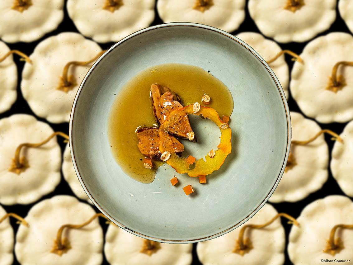 Foie gras et patisson, recette du chef et ami Romain bonnet, chef proprietaire du restaurant Omija, Nantes, ©Alban Couturier