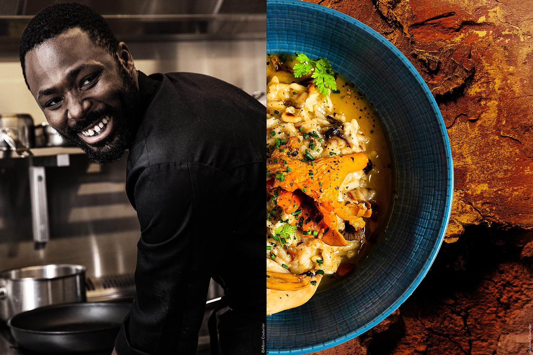 Chef Ibrahima sylla, restaurant Le Reflet Paris, Risotto aux champignons ©Alban Couturier
