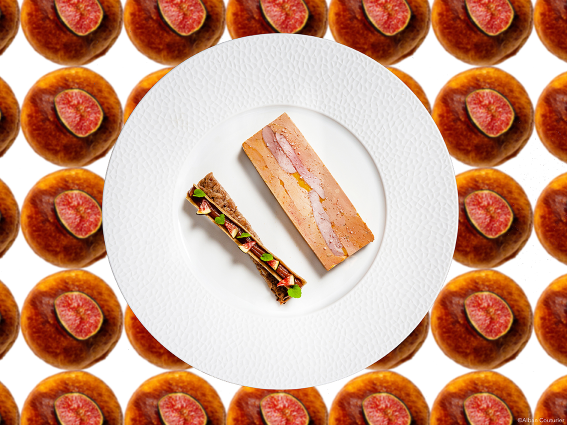 Presse de Foie gras aux figues, recette du chef et ami Sebastien Giroud, restaurant Monsieur, Hotel Lancaster, Paris  ©Alban Couturier