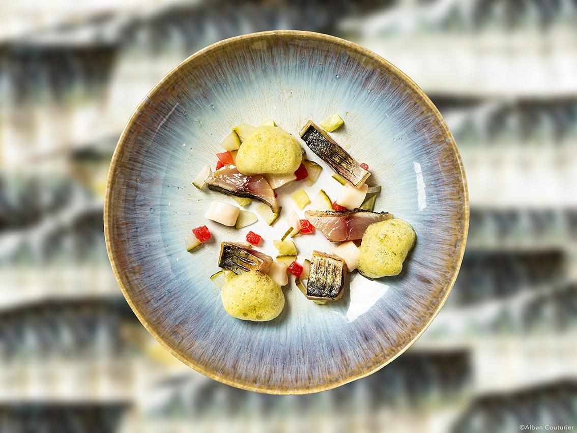 Maquereau Fume, espuma, recette culinaire chef et ami Romain Bonnet, Restaurant Omija, Nantes ©Alban Couturier