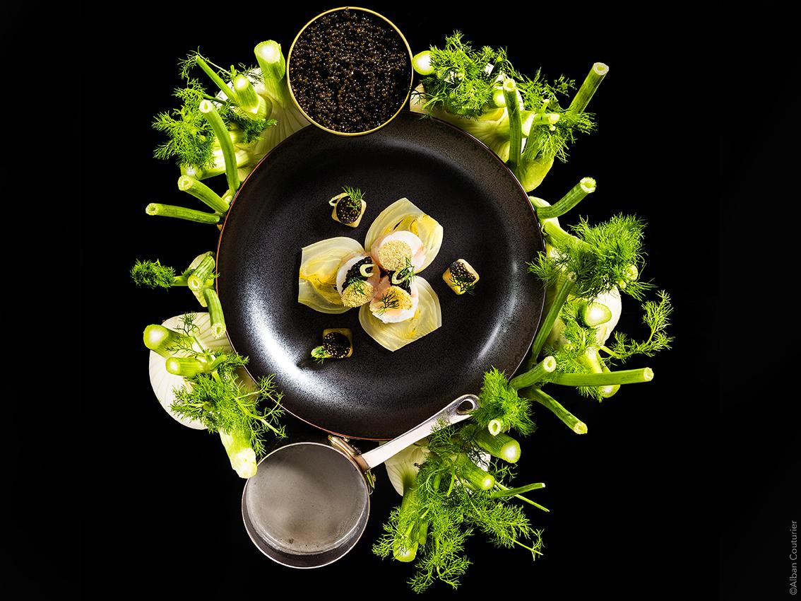Comme une foret gourmande, recette autour du fenouil et caviar, Chef Julien Roucheteau, La Reserve de Beaulieu, 1 etoile au guide Michelin, ©Alban Couturier