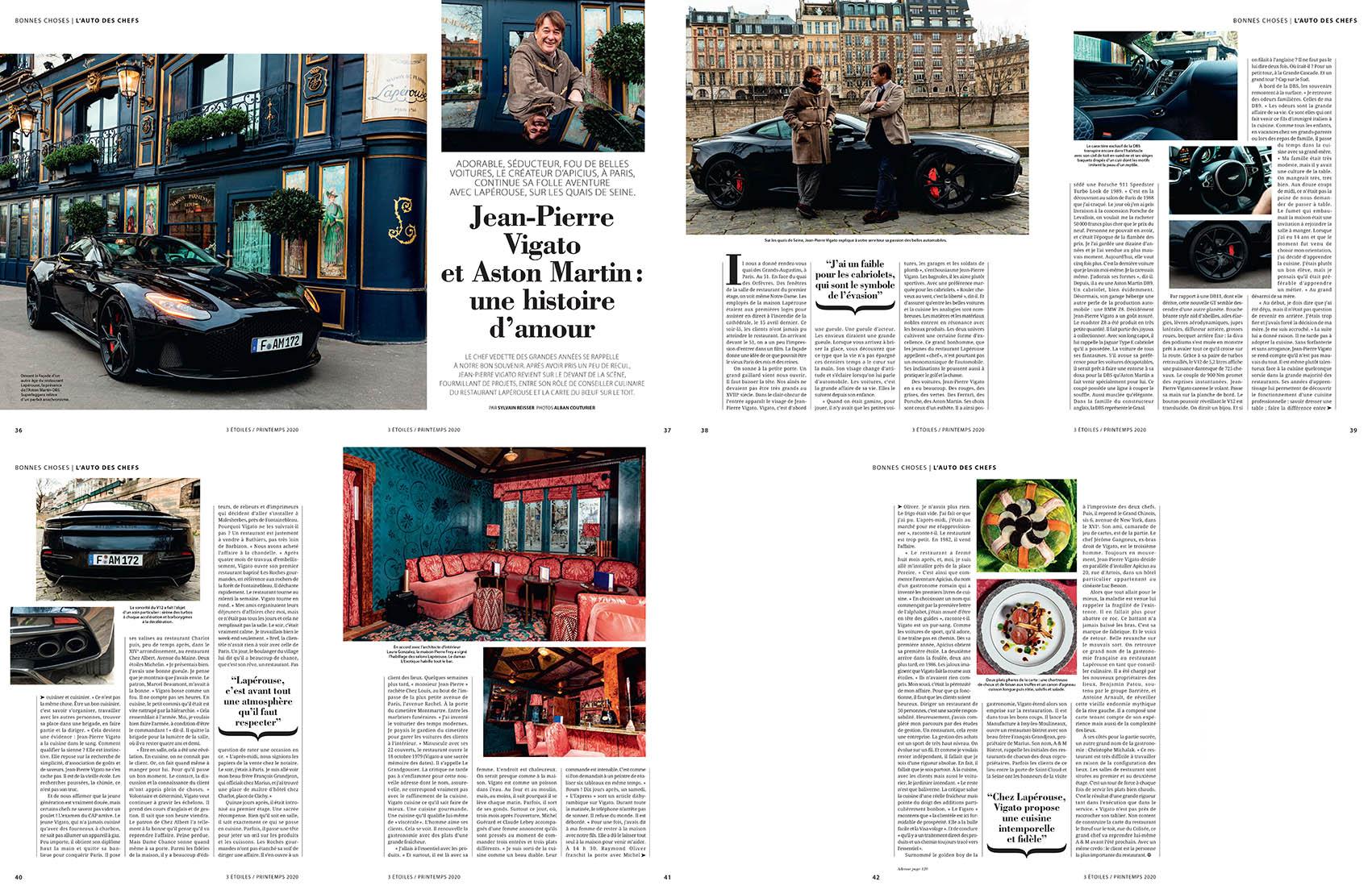 Reportage Mars 2020, Magazine 3 Etoiles, Jean Pierre Vigato, Restaurant Laperouse, Paris, Aston Martin ©Alban Couturier