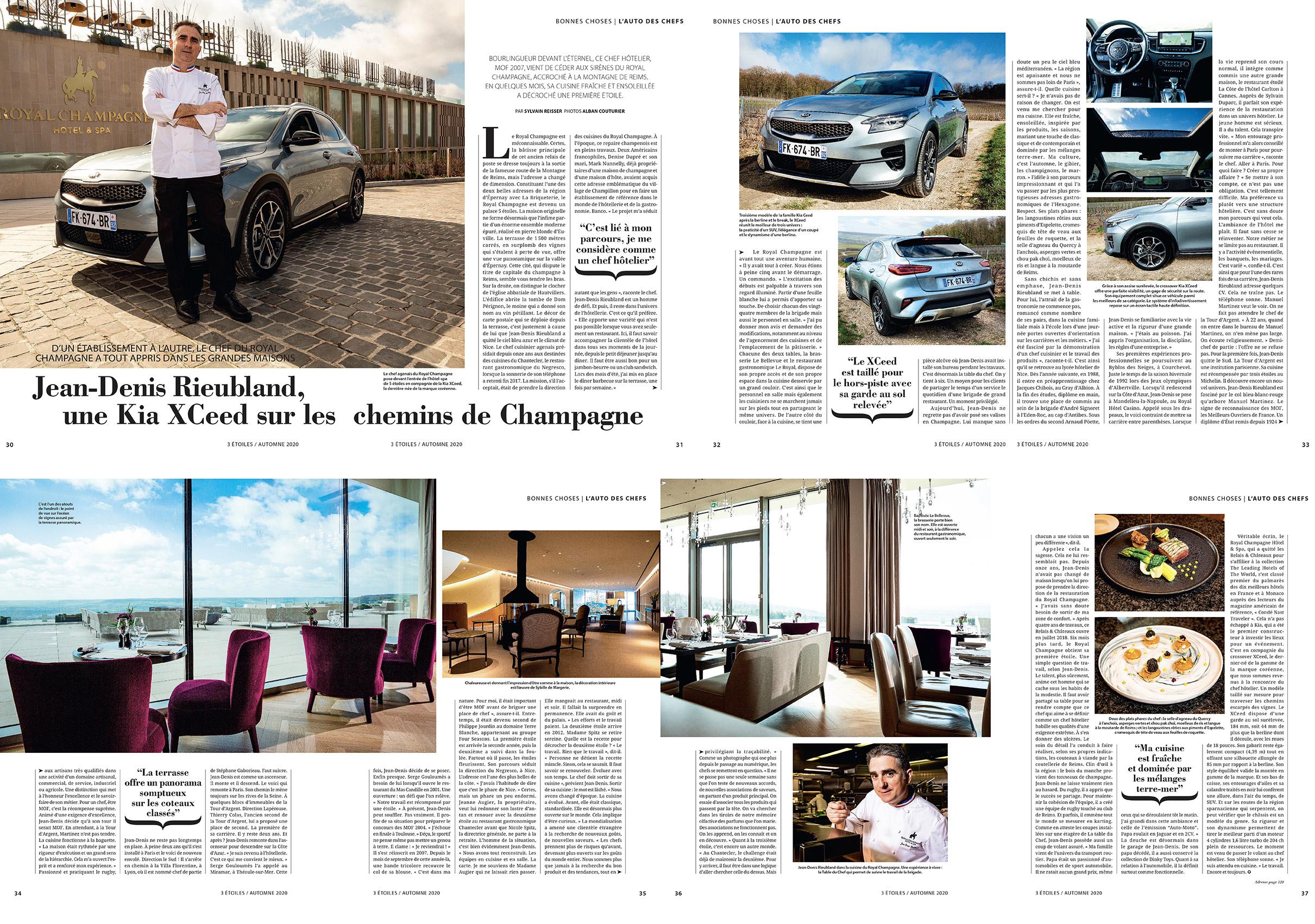 Magazine 3 Etoiles numero 66, Portrait, lieux, recettes et voiture, Royal Champagne, Chef Jean denis Rieubland, MOF,  ©Alban Couturier