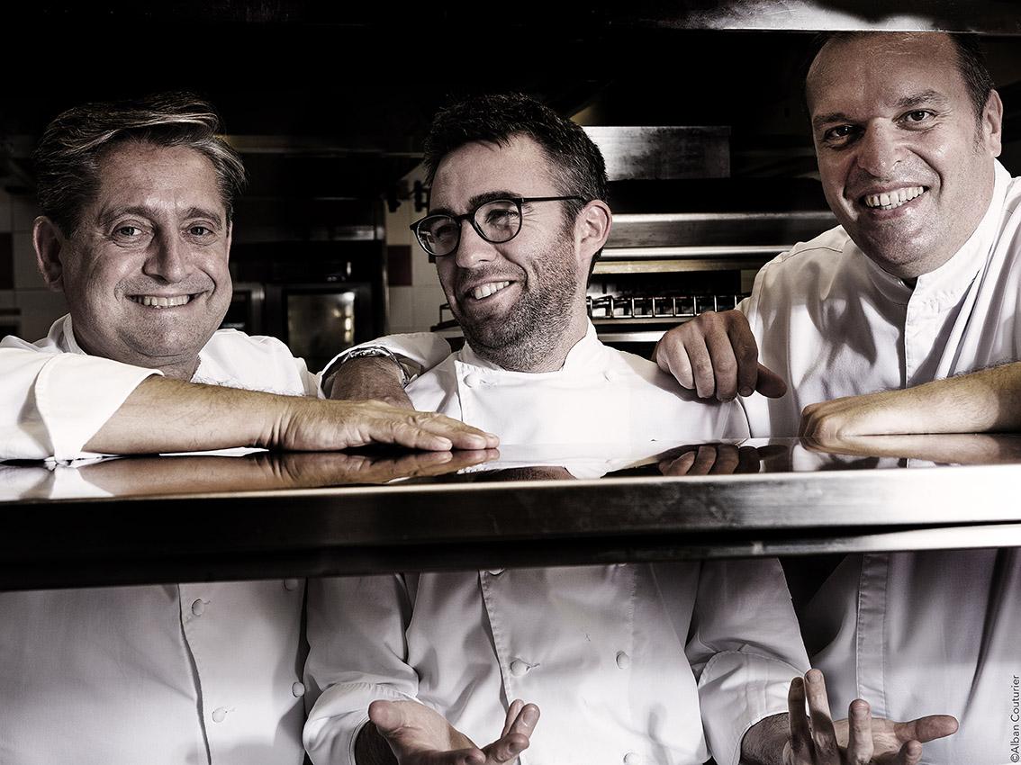 Triple Portrait, Bruno Gueret, Francois Xavier Simon, Emmanuel Sibileau, Chefs Fouquet's Paris, Complicité & Transmission ©Alban Couturier