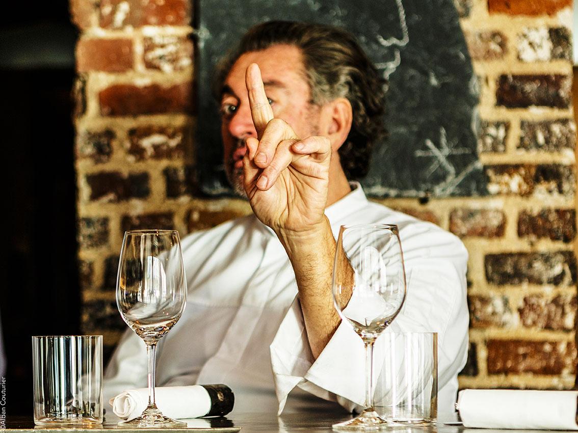 Portrait, chef et Ami Bruno Verjus, chef proprietaire, restaurant Table, 1 etoile au guide Michelin, Paris ©Alban Couturier