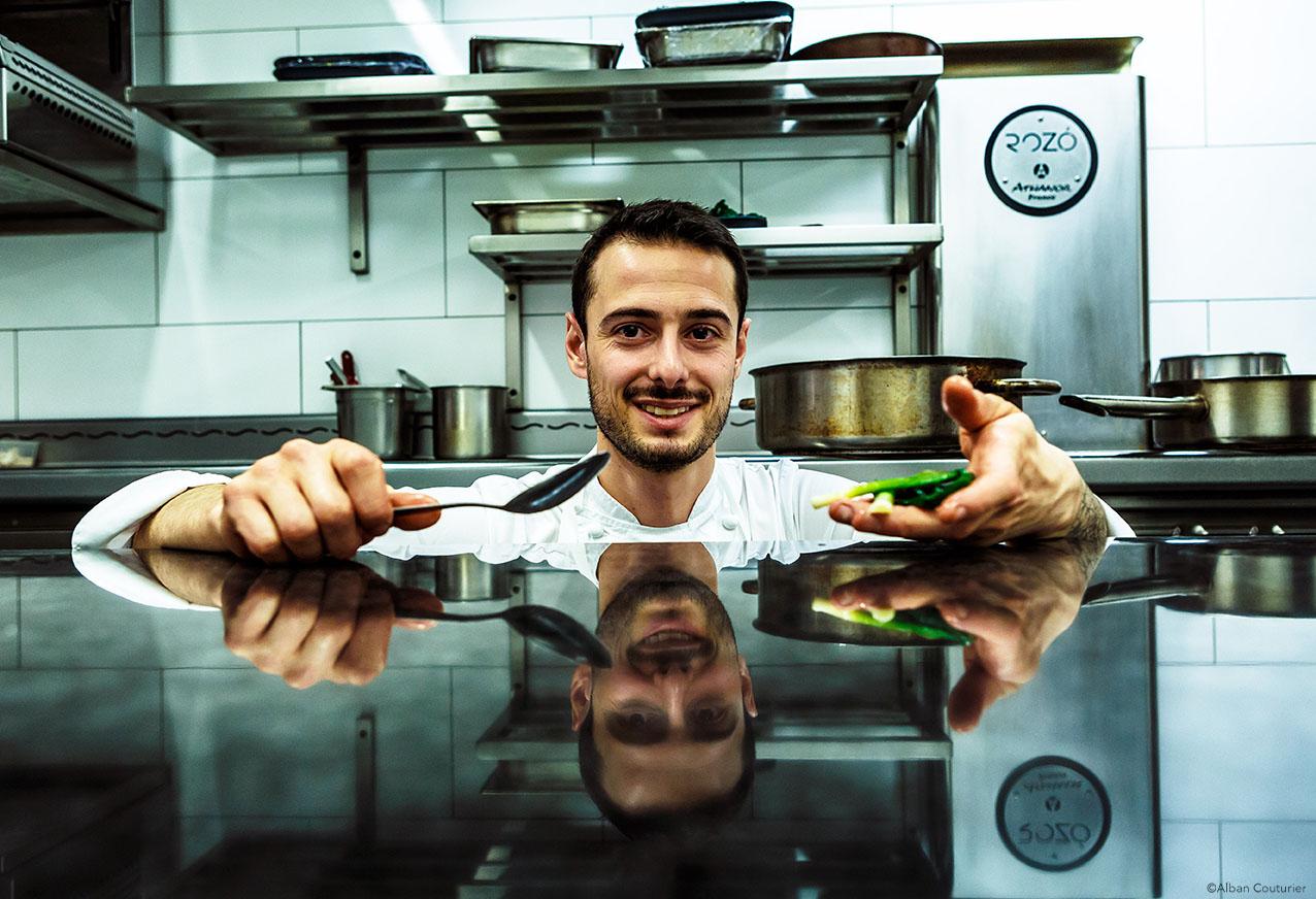 Portrait du Chef Diego Delbecq, restaurant ROZO, Lille, pour le magazine Le Point ©Alban Couturier