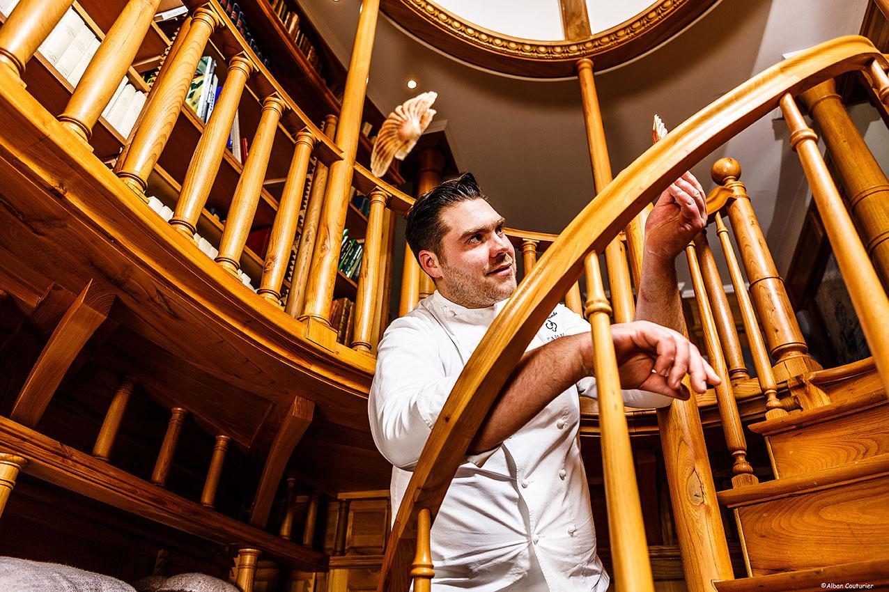 Portrait du chef Thibaud Gamba, Restaurant Le Clarence ,1 etoile au guide Michelin, Lille ©Alban Couturier
