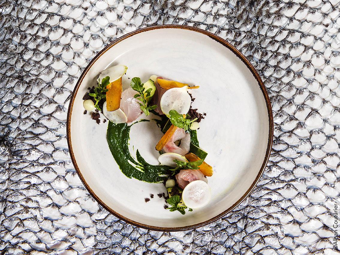 Recette du chef proprietaire Simon Horwitz, Restaurant Elmer, 30 rue Notre Dame de Nazareth, Paris . Dorade crue, ortie, concombre et poutargue. ©Alban Couturier