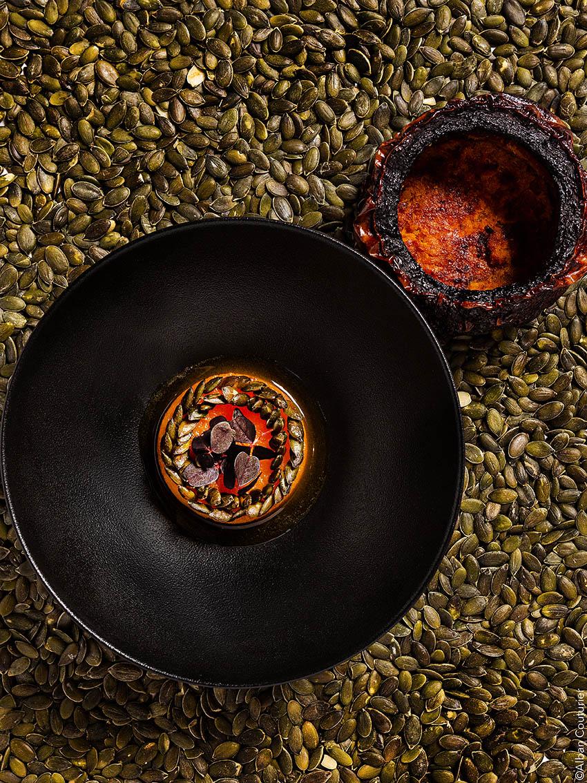Butternut en gratin et confit, extraction Butternut, restaurant Le Chiberta, 1 etoile au guide Michelin, Paris, chef et ami, Irwin Durand ©Alban Couturier
