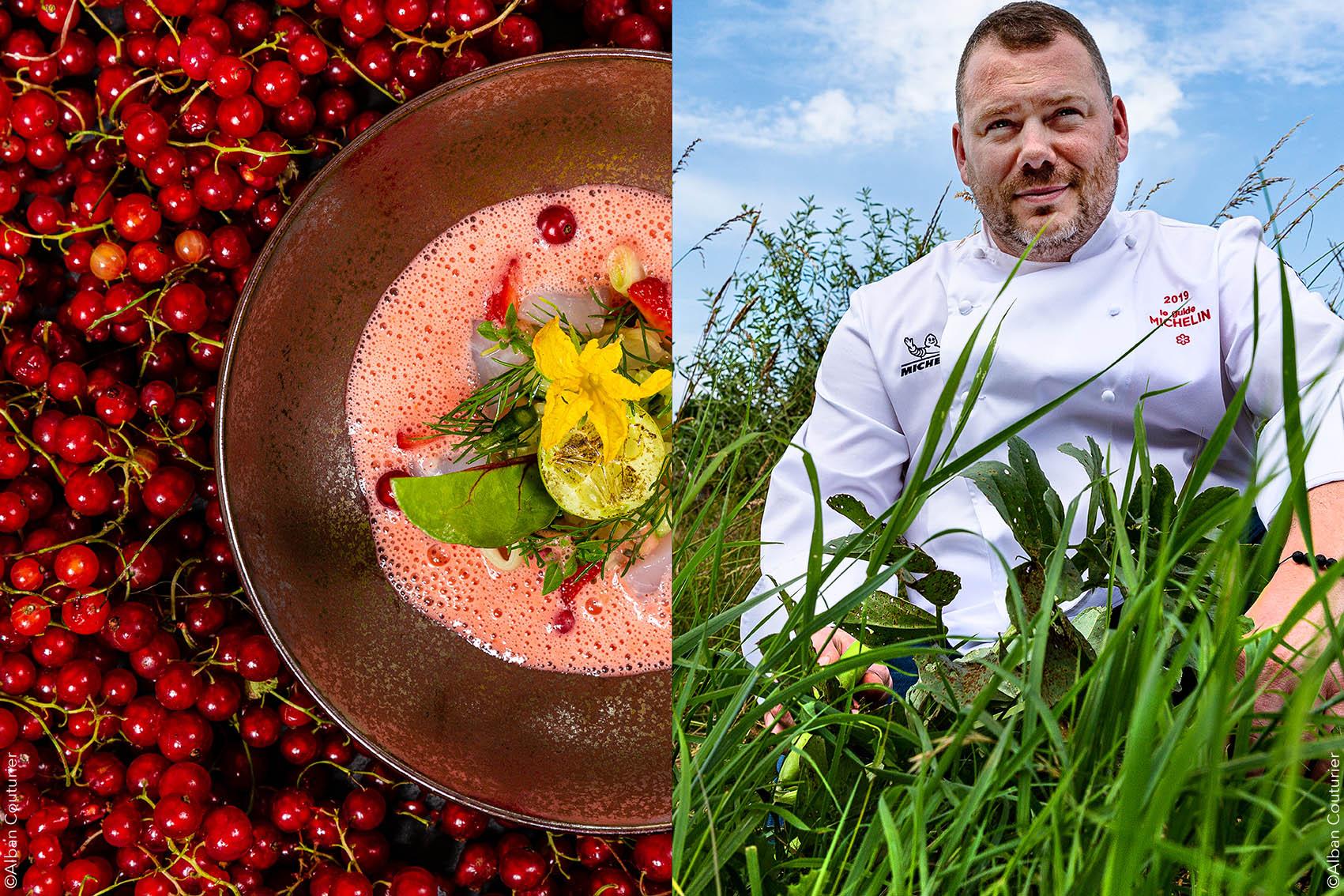 Portrait et recette, chef et ami  Gaetan Evrard, 1 etoile au guide Michelin, restaurant l Evidence, Montbazon. ©Alban Couturier