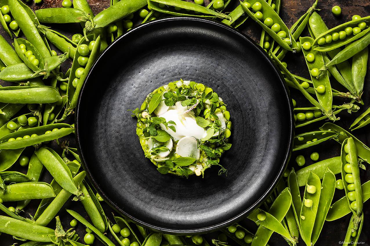 Creation culinaire autour du petit pois, julien Roucheteau, la Scene Theleme, 1 etoile au guide Michelin, Paris