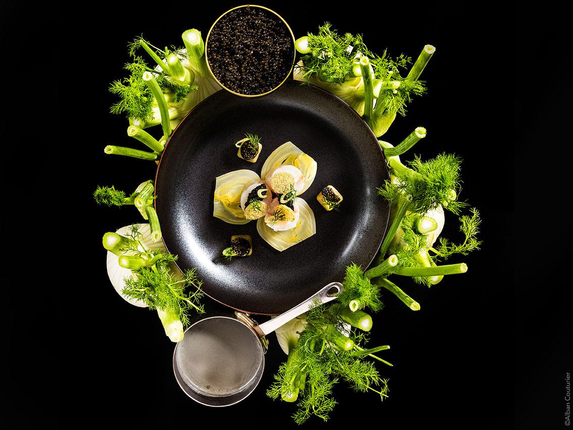 Ballottine de Loup, fenouil et caviar, Chef Julien Roucheteau, La Reserve de Beaulieu, 1 etoile au guide Michelin, ©Alban Couturier