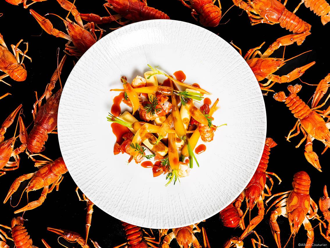 Recette gourmande, les Ecrevisses, chef Sebastien Giroud, restaurant Monsieur, Le Lancaster, Paris, ©Alban Couturier