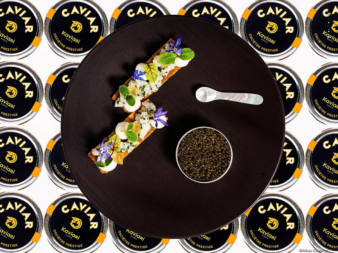 Recette gourmande, Saint-jacques et caviar, chef gregory Rejou,Le Restaurant au sein de l'Hotel, rue des beaux arts, Paris ©Alban Couturier