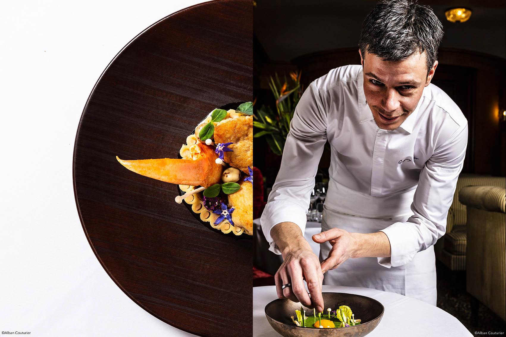 Ris de veau et homard,chef executif  gregory Rejou,Le Restaurant au sein de l'Hotel, rue des beaux arts, Paris ©Alban Couturier