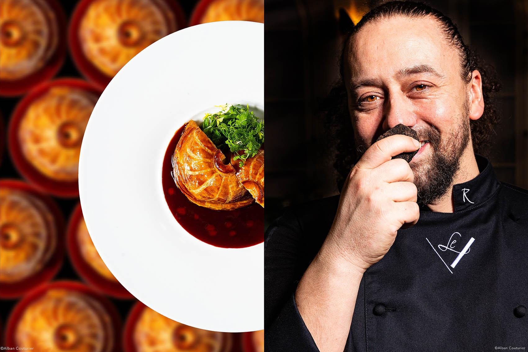 Richard Robe et sa Tourte, comme un Pithiviers, restaurant Gastronomique, le V, Hotel Vernet, ©Alban Couturier