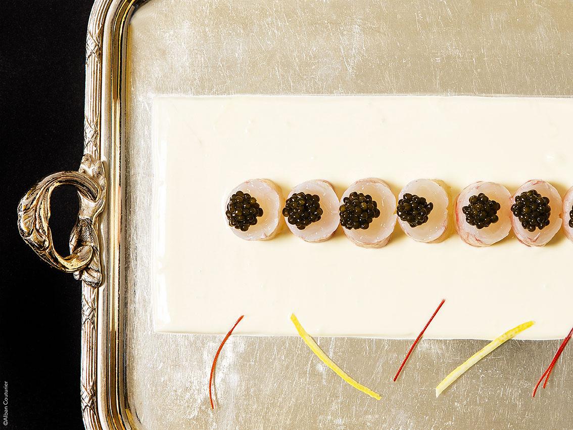 Langoustine&Caviar , recette du chef et ami, Nicolas Sale, 2 Etoiles au guide Michelin, Ritz Paris ©Alban Couturier