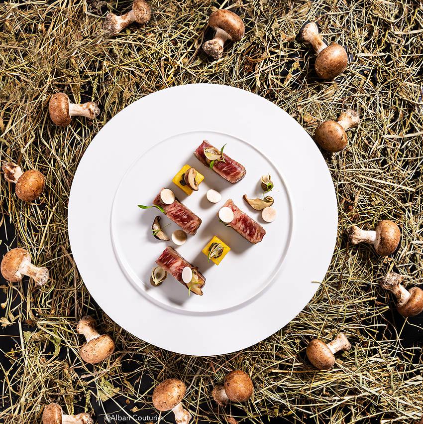 Faux Filet Wagyu, recette du chef et ami Julien Roucheteau MOF, La Reserve de Beaulieu, 1 etoile au guide michelin©Alban Couturier