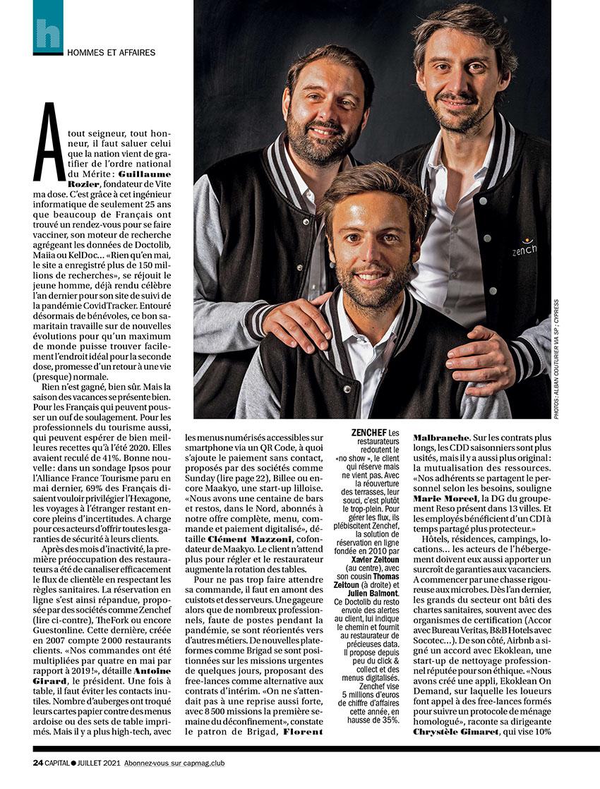 Portraits groupés les Amis et fondateurs Zenchef, Thomas Zeitoun, Xavier Zeitoun, Julien Balmont , Magazine CAPITAL juillet 2021@Alban Couturier