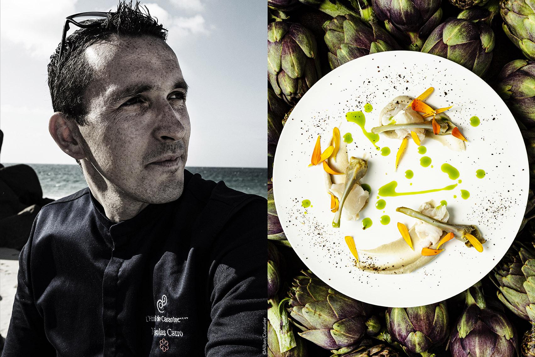 Chef et Ami Nicolas Carro, 1 etoile au guide Michelin, à Carantec, Bretagne. Le petit Violet de Carantec, Lieu Jaune de la baie acidulé, Jus de Barigoule aux algues.